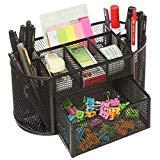 MyGift Space Saving Black Metal Wire Mesh 8 Compartment Office/School Supply Desktop Organizer Caddy w/Drawer