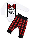 Newborn Baby Boy Clothes New to The Crew Letter Print Romper+Long Pants 2PCS Outfits Set 3-6 Months Red