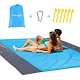 Sandfree Beach Blanket Large Size 108 x 85.2 inches for 7 Adults Outdoor Portable Travel Accessories Family Picnic Camping Mat Waterproof Lightweight Soft & Durable with 6 Stakes & 4 Corner Pockets