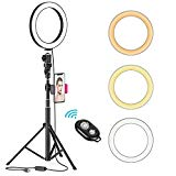 """8"""" LED Selfie Ring Light for Live Stream/Makeup/YouTube Video, Dimmable Beauty Ringlight with Tripod Stand & Cell Phone Holder for iPhone Android Phone, Color Temperature 3000K-5000K, 80 Bulbs, Remote"""