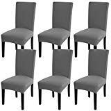 Fuloon Super Fit Stretch Jacquard Removable Washable Short Dining Chair Covers Seat Slipcover for Hotel,Dining Room,Ceremony,Banquet Wedding Party (6, Gray)