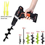 "Auger Drill Bit Garden Plant Flower Bulb Auger Rapid Planter Bulb & Bedding Plant Auger for 3/8"" Hex Drive Drill Earth Auger Drill Fence Post Umbrella Hole Digger (1.6"" x 9"", Black)"