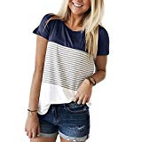 YunJey Short Sleeve Round Neck Triple Color Block Stripe T-Shirt Casual Blouse,Navy,Medium