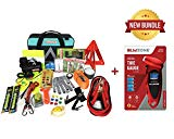 Blikzone Auto Roadside Assistance Car Kit Aqua Bundled 82 Pc for Vehicle Emergency: Portable Air Compressor, Jumper Cables, Tire Repair Kit, Digital Tire Pressure Gauge to Travel and Drive Safely