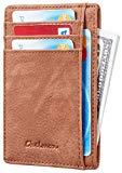 Chelmon Slim Wallet RFID Front Pocket Wallet Minimalist Secure Thin Credit Card Holder (Vinti Brown)