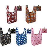 Reusable Shopping Tote Bags 5 Pack Large 50LBS Foldable Grocery Bags With Pouch Ripstop Washable Lightweight Cute Animal Designs Red Dog Pink Flamingo Blue Elephant Brown Cat Black Giraffe