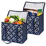 Insulated Grocery Shopping Bags (2 Pack-Blue), X-Large, Premium Quality Cooler Bag Set with Long Handles and Zipper Top. Reusable Tote for Warm or Cold Food, Freezer Items, Delivery