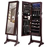 SONGMICS 6 LEDs Mirror Jewelry Cabinet Lockable Standing Mirrored Jewelry Armoire Organizer 2 Drawers Brown UJJC94K