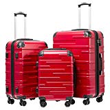 Coolife Luggage Expandable Suitcase 3 Piece Set with TSA Lock Spinner 20in24in28in (red)