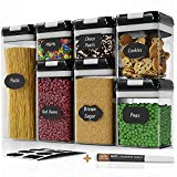 Chef's Path Airtight Food Storage Container Set - 7 PC Set - 10 Chalkboard Labels & Marker - Kitchen & Pantry Containers - BPA-Free - Clear Plastic Canisters with Improved Durable Lids