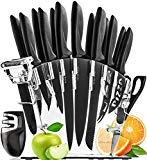 Stainless Steel Knife Set with Block - 13 Kitchen Knives Set Chef Knife Set with Knife Sharpener, 6 Steak Knives, Bonus Peeler Scissors Cheese Pizza Knife and Acrylic Stand by Home Hero