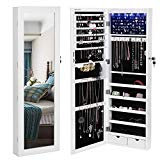 SONGMICS 6 LEDs Mirror Jewelry Cabinet Lockable Wall/Door Mounted Jewelry Armoire Organizer with Mirror, 2 Drawers, Pure White UJJC93W