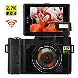 Digital Camera with WiFi 24.0 MP Vlogging Camera 2.7K Ultra HD 3.0 Inch Camera with Flip Screen Retractable Flashlight (RG)