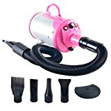SHELANDY 3.2HP Stepless Adjustable Speed Pet Hair Force Dryer Dog Grooming Blower with Heater (Pink)