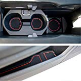 Custom Fit Cup, Door and Center Console Liner Accessories for Honda Civic 2019 2018 2017 2016 14-pc Set (Front Seat, Red Trim)