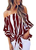 Asvivid Womens Striped Strapless 3 4 Bell Sleeve T Shirts Casual Chiffon Work Blouses Medium Red