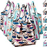 Reusable Grocery Shopping Bags Foldable with Pouch, Heavy Duty Nylon Cloth Reusable Bags for Groceries, Shopping Trip (Dolphin+Flamingo+Bear, 6-pcs)