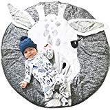 Lzttyee Cotton Round Giraffe Nursery Rug Baby Floor Playmats Crawling Mat Game Blanket for Kids' Room Decoration Dark Gray