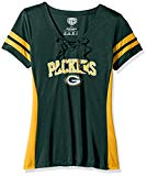 OTS NFL Green Bay Packers Women's Poly Lace Up V-Neck Tee, Weber, Large