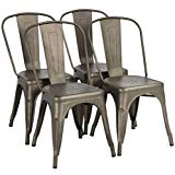 Yaheetech Iron Metal Dining Chairs Stackable Side Chairs Tolix Bar Chairs with Back Indoor-Outdoor Classic/Chic/Industrial/Vintage Bistro Café Trattoria Kitchen Gun Metal, Set of 4