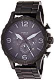 Fossil Men's Nate Quartz Stainless Steel Chronograph Watch, Color: Black (Model: JR1401)