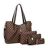 YTL Women Fashion Synthetic Leather Handbags+Shoulder Bag+Purse+Card Holder 4pcs Set Tote (large, coffee-C)