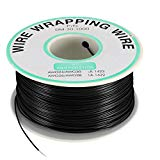 uxcell Wrapping Wire Tin Plated Copper Wire PCB Wires Cable P/N DM-30-1000 30 AWG 200M Length Black for Eletronic Test