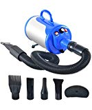 SHELANDY 3.2HP Stepless Adjustable Speed Pet Hair Force Dryer Dog Grooming Blower with Heater(Blue)