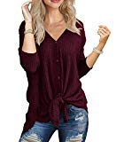 IWOLLENCE Womens Loose Henley Blouse Bat Wing Long Sleeve Button Down T Shirts Tie Front Knot Tops Wine Red S