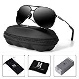 MXNX Aviator Sunglasses for Men Polarized Women UV Protection Lightweight Driving Fishing Sports Mens Sunglasses MX208-(Gun/Black Lens)