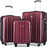 Merax Luggage Sets with TSA Locks, 3 Piece Lightweight P.E.T Luggage 20inch 24inch 28inch (Wine Red)