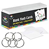 """Star Right Blank Flash Cards - 5 Rings, 1000 Index Cards, 2x3"""" - for School Supplies, Note Cards, Learning, Memory, Recipe Cards & More"""