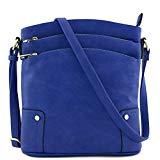 Triple Zip Pocket Large Crossbody Bag (Royal Blue)