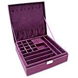 KLOUD City Two-Layer lint Jewelry Box Organizer Display Storage case with Lock (Purple)