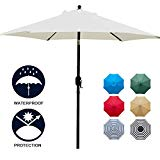 Sunnyglade 7.5' Patio Umbrella Outdoor Table Market Umbrella with Push Button Tilt/Crank, 6 Ribs (Beige)
