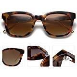 SOJOS Classic Square Polarized Sunglasses Unisex UV400 Mirrored Glasses SJ2050 with Tortoise Frame/Brown Polarized Lens