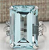 Vintage Women 925 Silver Aquamarine Gemstone Ring Wedding Jewelry Size (9)