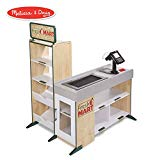 Melissa & Doug Freestanding Wooden Fresh Mart Grocery Store (Wooden Grocery Stand, Ample Shelving, Creative Playtime, 106.68 cm H x 69.85 cm W x 88.9 cm L)