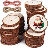 """5ARTH Natural Wood Slices - 37 Pcs 2.0""""-2.4"""" Craft Unfinished Wood kit Predrilled with Hole Wooden Circles for Arts Wood Slices Christmas Ornaments DIY Crafts"""