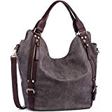 JOYSON Women Handbags Hobo Shoulder Bags Tote PU Leather Handbags Fashion Large Capacity Bags dark brown