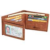 Men's Wallet - RFID Blocking Cowhide Leather Vintage Trifold Wallet (Brown Tan)