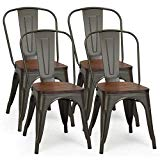 COSTWAY Tolix Style Dining Chairs Industrial Metal Stackable Cafe Side Chair w/Wood Seat Set of 4 (Gun)