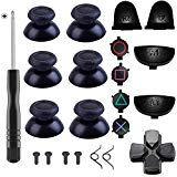 Yosikr Pairs Thumbsticks Joystick for Playstation 4 PS4 Controller with Cross Screwdriver + L2 R2 L1 R1 Trigger Replacement Parts + ABXY Bullet Buttons + D-pad + Small Spring (Balck 5 Pairs(10PCS))