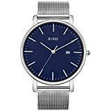 BUREI Men's Fashion Minimalist Wrist Watch Analog Blue Date with Silver Stainless Steel Mesh Band (Blue Silver)