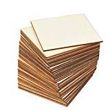 Juvale 36-Pack Unfinished Wood Square Tile Cutout Pieces for DIY Crafts