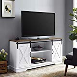 "WE Furniture AZ58SBDSW TV Stand, 58"", White/Rustic Oak"