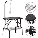 Yaheetech Portable Small Pet Dog Grooming Table Adjustable Height - 32-inch Drying Table w/Arm/Noose/Mesh Tray for Small Dogs Cats Non-Slip Maximum Capacity Up to 220lbs Black