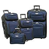 Traveler's Choice Amsterdam 4-Piece Travel Expandable Rolling Luggage Set, Navy