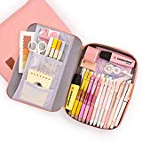 Pencil Pouch for Boys Girls PYFK Pencil Case for School Office Supplies Easy Access with Big Capacity and Multi Use(Pink)