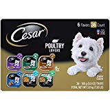 CESAR Soft Wet Dog Food Poultry Lovers Variety Pack with Real Chicken, Turkey or Duck, (36) 3.5 oz. Easy Peel Trays